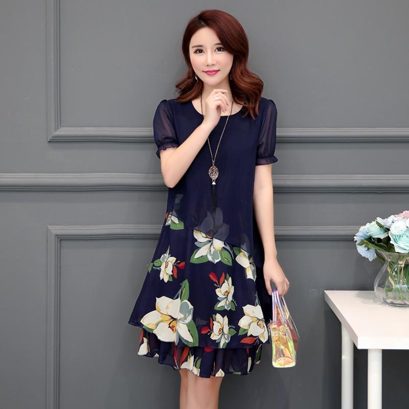 2018 New Summer Women Long dress Print Chiffon Mom Had Knee Straightlly Minus Age Noble Fat Mm Dresses Blue Black 8025