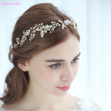 Jonnafe 2018 Crystal Flower Wedding Headband Tiara Gold Leaf Women Headpiece Pearls Jewelry Bridal Hair Accessories