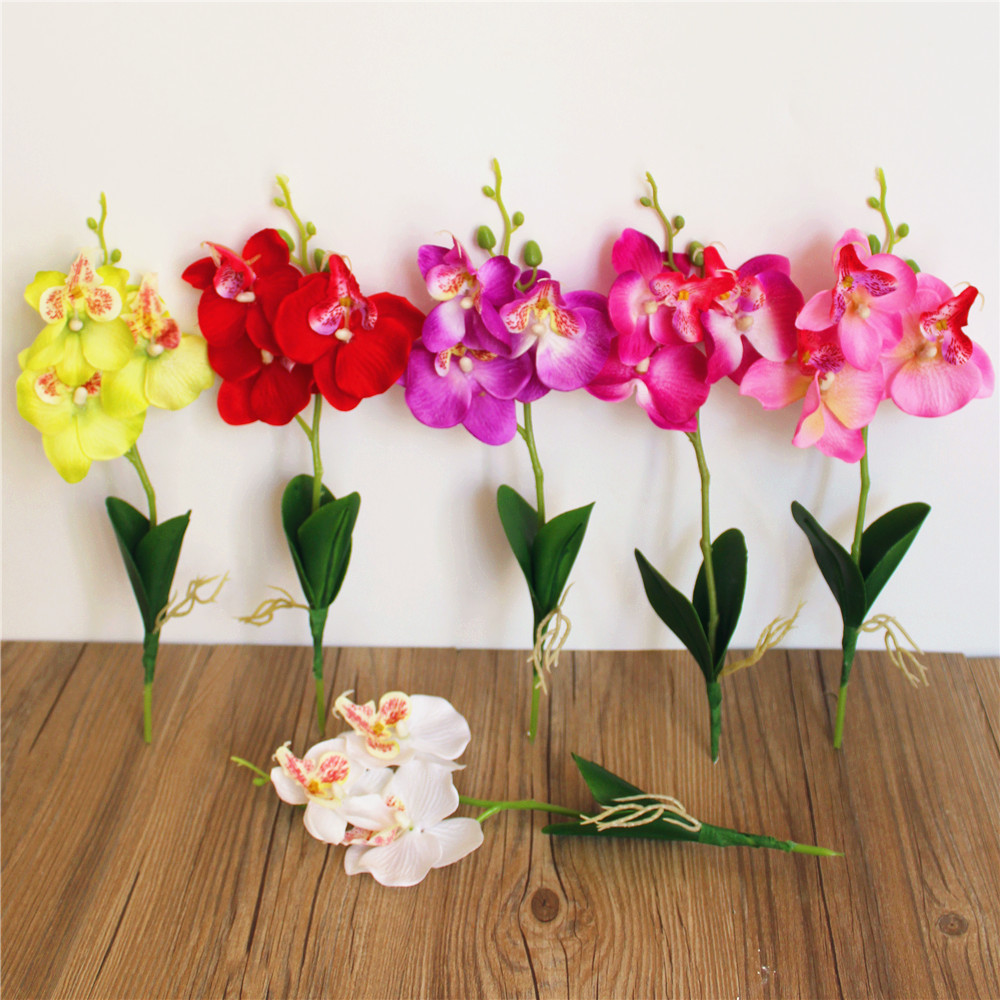 Flowers Artificial Butterfly Orchid Three Headed Silk