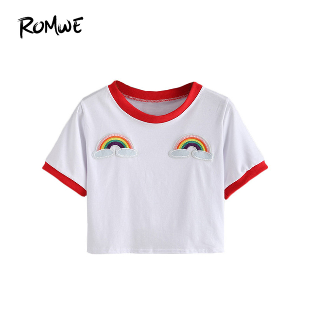 ROMWE Contrast Trimmed Rainbow Patch Crop Tees Summer Women T shirts Fashion Round Neck Short Sleeve White Casual T-Shirt