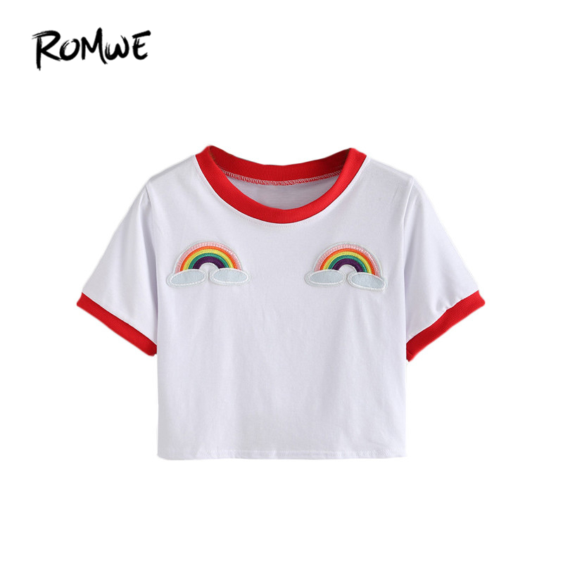 ROMWE Kontrast Getrimmt Regenbogen Patch Ernte Tees Sommer Frauen T shirts 2016 Mode Rundhals Kurzarm Weiß Casual T-Shirt