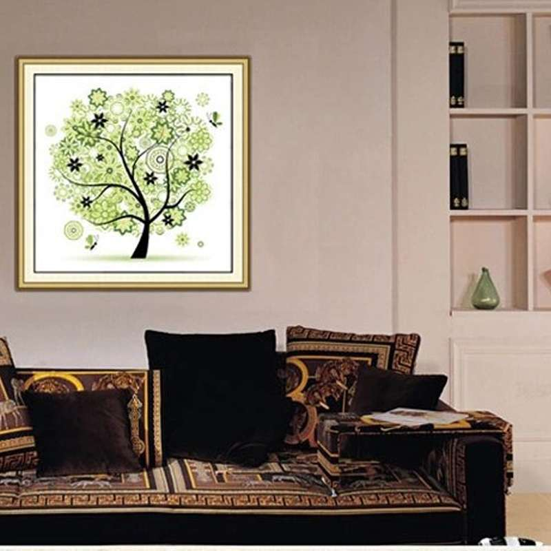 Hot sale diamond embroidery diy 5d tree rhinestone four for Home decor items on sale
