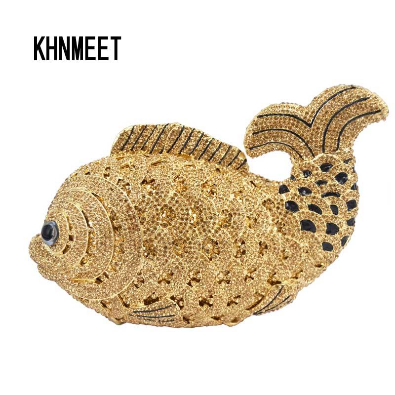 LaiSC luksusowe kryształ wieczór torby ręcznie ryby kształt sprzęgła torby kobiety kopertówka pochette diament party torebka wieczorowa SC096 w Torby z uchwytem od Bagaże i torby na  Grupa 1