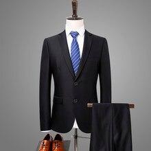 Costume deux pièces pour homme, tenue de marque pour mariage et affaires, coupe cintrée, classique, noir pur, nouvelle collection 2019, 8550