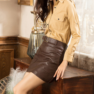 Image 4 - Faldas de cuero sintético de cintura alta para mujer, minifalda de línea a con cinturón, color marrón, negro y blanco, para Otoño e Invierno