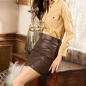 Image 4 - Wysokiej talii Vintage PU skóra kobieta spódnice jesień zima Streetwear brązowy czarny biały Mini spódnica z paskiem spódnica linii kobiet