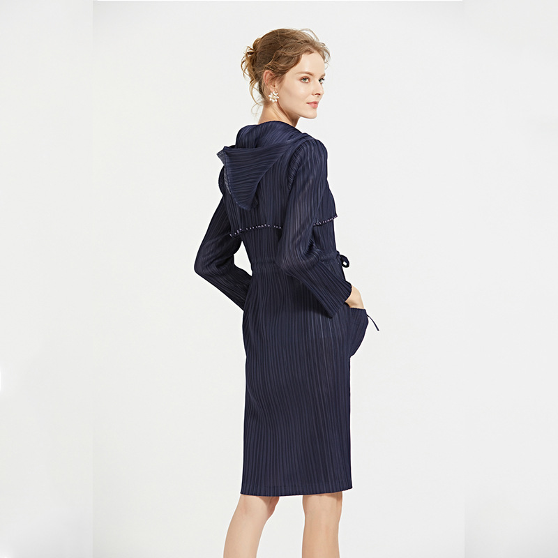 orange 2018 De Féminine Casual Issey Bleu Blue Miyake Azterumi vent Nouveau Automne À Capuche Long Femme Coupe Manteau Foncé Dark Mode Vêtements Femmes Mince La wIqpSPp