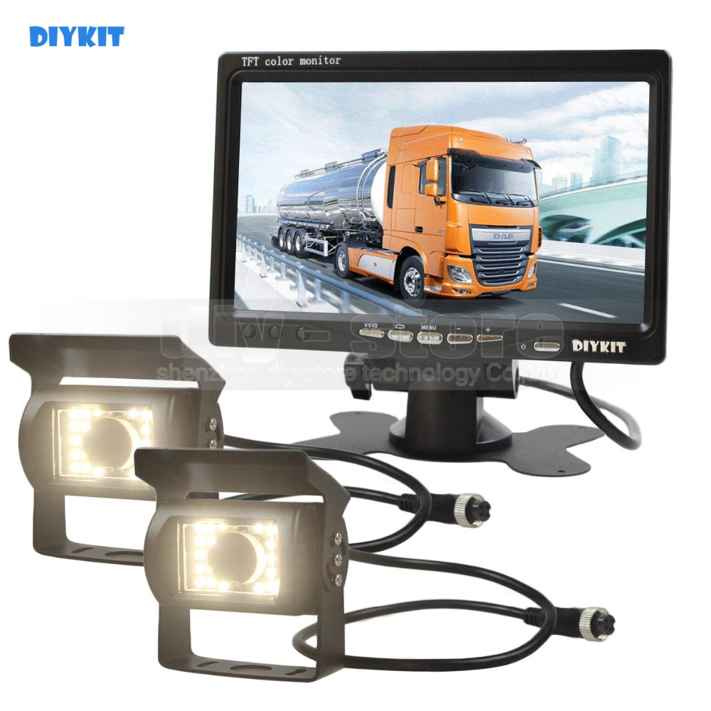 DIYKIT 2 x 4pin LED Night Vision CCD Rear View Camera Kit + DC 12V-24V 7inch TFT LCD Car Monitor System for Bus Houseboat Truck купить недорого в Москве