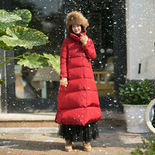 MM220 New Arrival 2017 thick warm winter coat vintage simple stand collar loose long white duck down jacket women