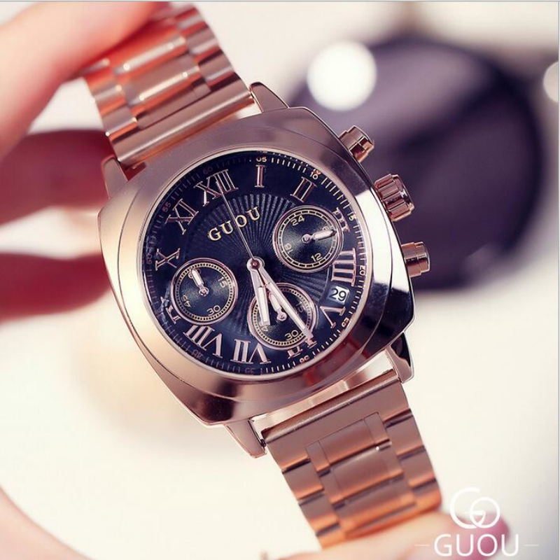 GUOU Watch Luxury Rose Gold Watch Women Watches Multifunction Women's Watches Clock Women Gift saat relogio feminino reloj mujer guou luxury women watches roman numerals fashion ladies watch rose gold watch calendar women s watches clock saat reloj mujer