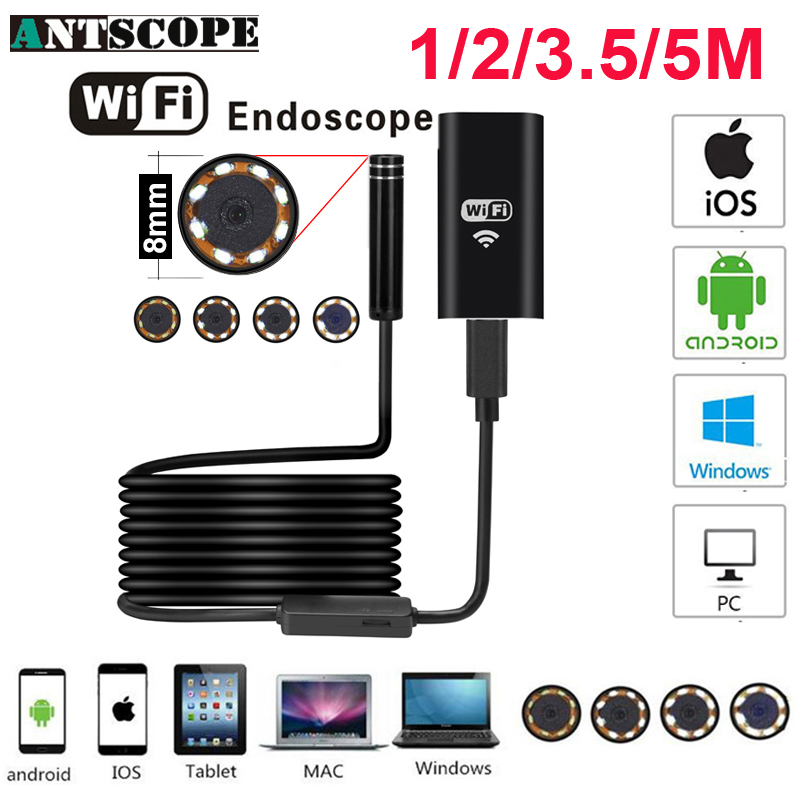 Antscope Wifi Endoscope Caméra Android 720 P Iphone Endoscope Caméra Endoscopio Semi Rigide Dur Tube et Softwire iOS Endoscope