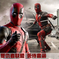 2019 Deadpool Costume Kid Boys Adult Man Spandex Lycra Zentai Bodysuit Halloween Cosplay Suit Belt Headwear Mask Sword holster