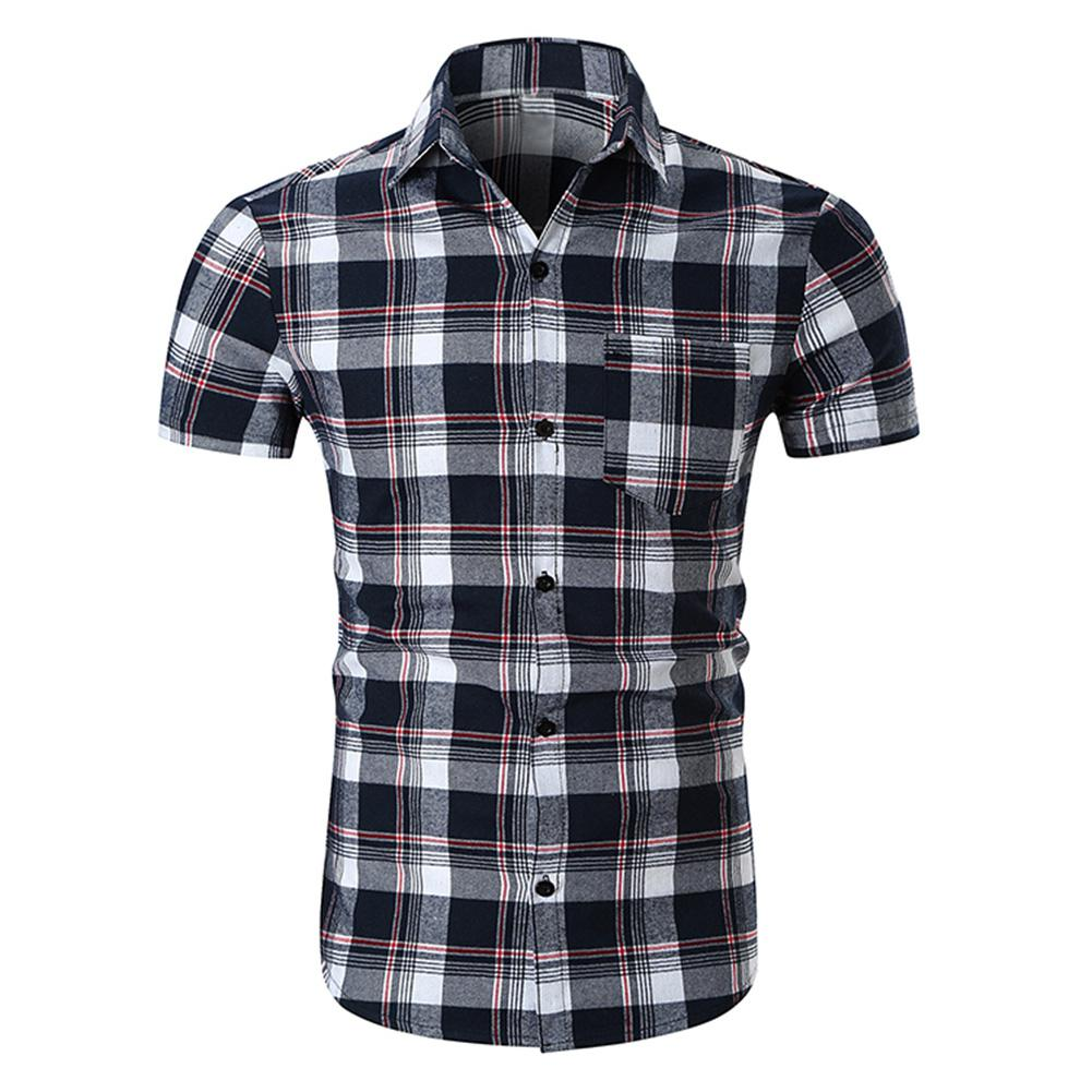 Plaid Summer Shirts Men Loose Soft Cotton Breathable Causal Shirt With Pocket Short Sleeve Big Size XXL Male's TopsSAN0