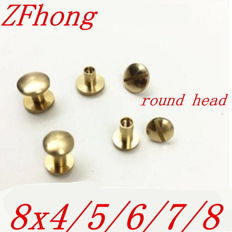 50 sets   8*4mm, 8*5mm, 8*6mm, 8*7mm, 8x8mm Round Head Leather Craft Belt Wallet Solid Brass Nail Rivets Chicago Screws 8 8lq088k9la01