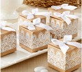 100pcs Chic Vintage Kraft Paper Candy Box with white lace disign wedding souvenirs wedding party favors wedding gifts for guests