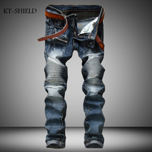 Fashion full length Biker Fold Ripped Denim Jeans Brand Men Casual Pant Trousers Slim Fit Motorcycle