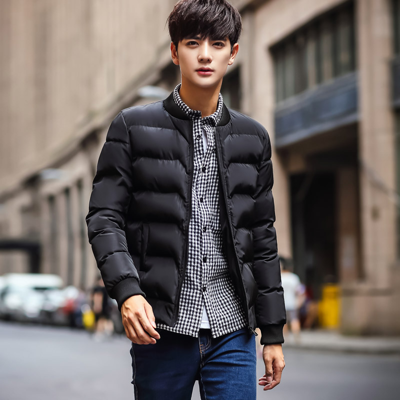 ФОТО Simple style pure color short cotton padded jacket men thicken warm casual mens coat men's clothing size m-5xl MF1-1