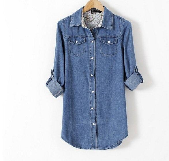 quality design db806 cb7e0 US $15.99 |Autunno 2016 donne in cotone denim camicia jeans slim camicia  della signora camicie in denim giacca di jeans blusa di grandi dimensioni  XS ...