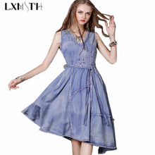 Summer Dress 2017 Sexy Sleeveless Slim Blue Jean Dresses For Women Fashion Vintage V Collar Irregular Denim Dress With Belt M L