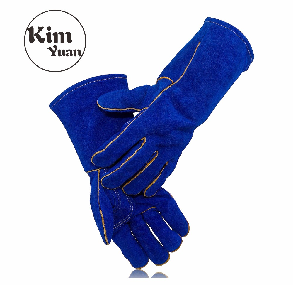 KIM YUAN 007/010L Leather Welding Gloves - Heat/Fire Resistant, Perfect for Gardening/Tig Weld/Beekeeping/BBQ-14inches&16Inches цена