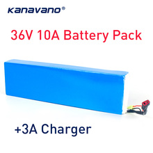 Kanavano 36V 10S4P 10Ah  bike electric car battery scooter lithium 500W high-capacity 18650 send Charger