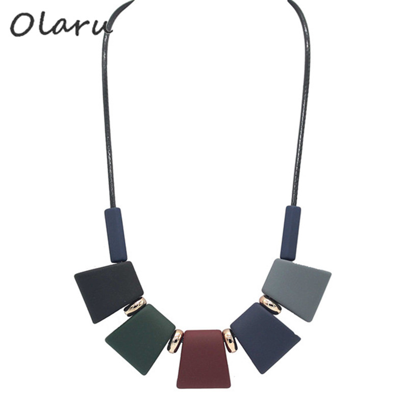 Olaru Fashion Brand Sale Korea Handmade Resin Geometry Choker Necklace For Woman Ball Maxi Statement Necklaces New Jewelry Gift
