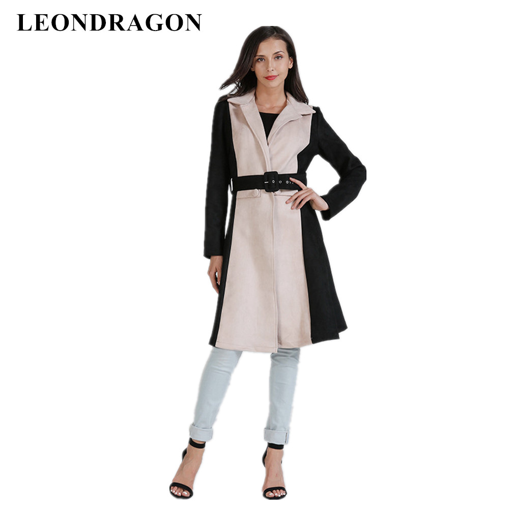 New Brand Winter Warm Women Woolen Overcoats Ladies Party Sexy Long Coats Bar Club Belt Trench Blends Autumn Outerwear