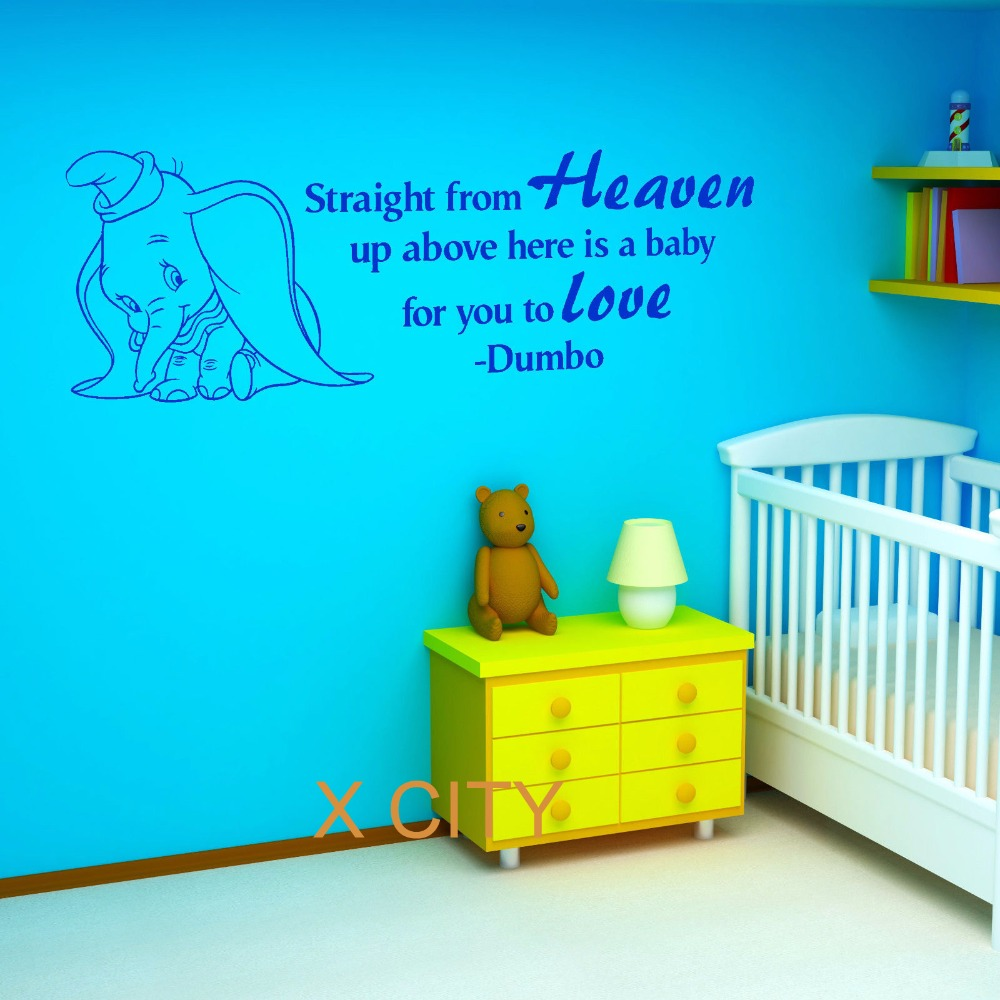 DUMBO THE ELEPHANT Straight From Heaven Vinyl Wall Art Baby Room Sticker Nursery Decal Door Window Stencils Mural Decoration-in Wall Stickers from Home ...  sc 1 st  AliExpress.com & DUMBO THE ELEPHANT Straight From Heaven Vinyl Wall Art Baby Room ...