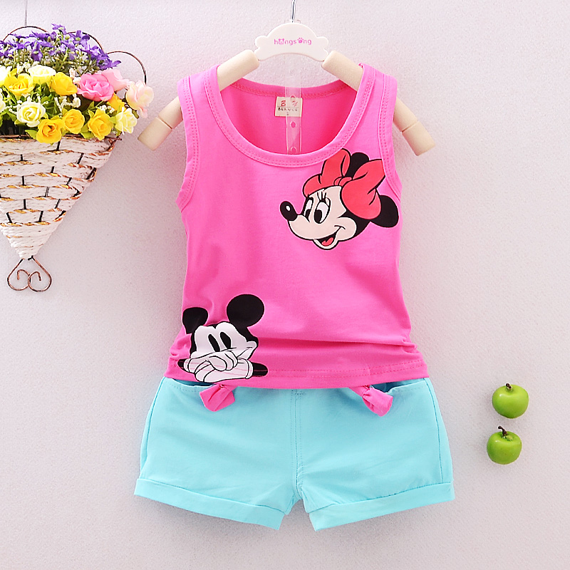 2017 new Summer baby boys girls clothes set children clothing set kids minnie shirt cotton vest+pants baby girls cartoon suits