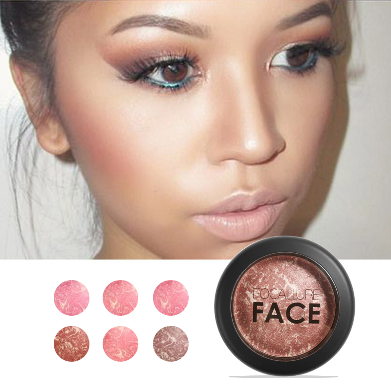 FOCALLURE Natural Face Pressed Blush Makeup Baked Blush Palette Baked Cheek Colors Cosmetic Face Shadow Press Powder