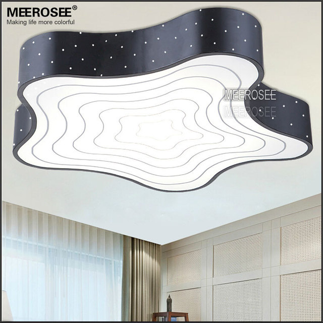 White Metal Led Ceiling Lamp Star Shaped Bedroom Fancy Er Black Hallway Light Fixtures Surface