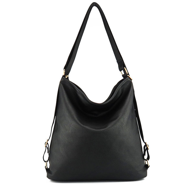Couro Artificial bolsa de ombro fêmea grande bolsa totes sacos de mulheres de cor preta nova chegada mulher hobos