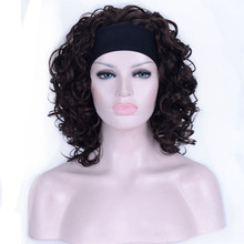 Strong Beauty Short Synthetic Curly Wigs 3/4 Half Wig With Headband For African Amrican Black Women