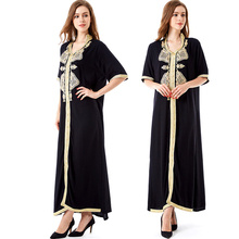 Women islamic clothing Maxi Long sleeve long Dress moroccan Kaftan embroidery dress vintage abaya Muslim Robes