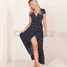 CUERLY Summer Ladies Long Dress Red White Dot Beach Maxi Women Evening Party Sundress de festa