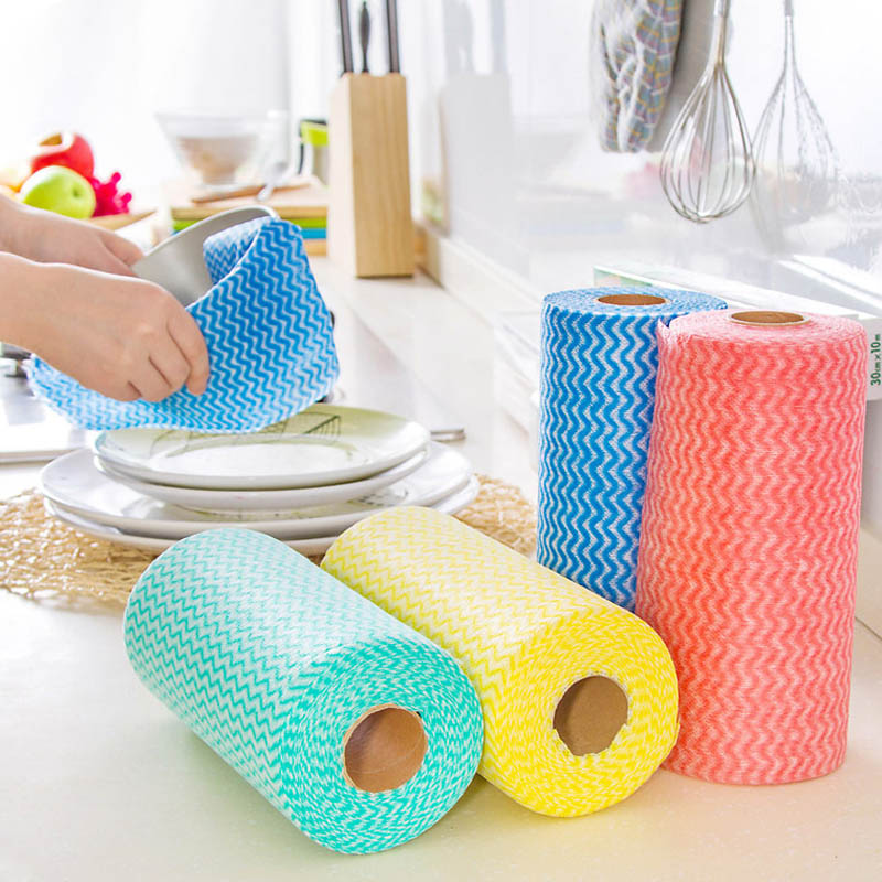1Roll Disposable Non Woven Fabrics Colorful Kitchen Cleaning Cloth Wash  Dishes Nonstick Oil Wiping Rags