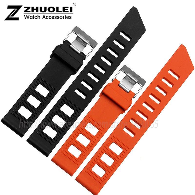20mm 22mm Billige Kunden Silikon Armband Schwarz | Orange Gummi Armband Für Herren Wasserdichte Silikon Armband Uhr Bequem Zu Kochen