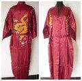 Venta caliente Borgoña de Los Hombres Chinos de Satén de Seda Robe Bordado Del Kimono de Baño Vestido Dragón TALLA M L XL XXL 3XL S0103-6