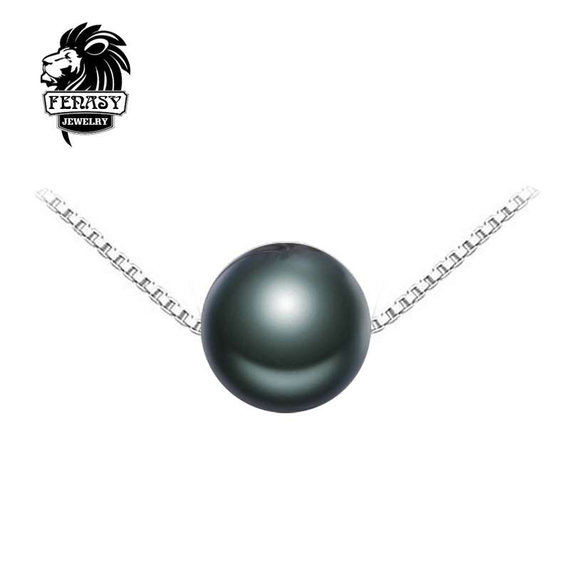 FENASY Black pearl brand Jewelry Natural Round Tahitian Pearl Necklace S925 sterling silver jewelry charms Necklaces for women