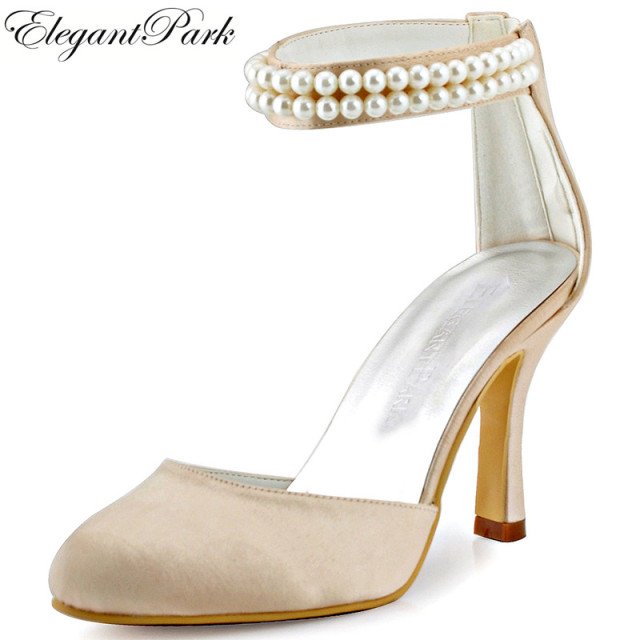 AJ3065 Women Wedding Bridal Shoes Ankle Straps High Heel Champagne White  Ivory Round Toe Pearls Zipper Satin Prom Party Pumps e44b5e23f02b
