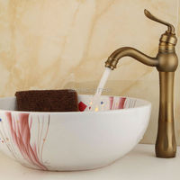 Free Shipping Solid Style Tall Antique Brass Bathroom Faucet Single Handle Long Mouth Brass Basin Sink Mixer Tap A-037