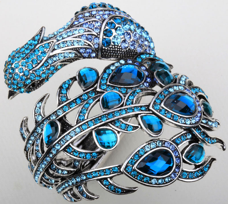 Peacock Bracelet For Women Crystal Rhinestone Bangle Cuff
