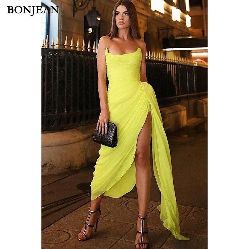 Sexy  Evening Dresses Chiffon Yellow Prom Dress Floor Length Sleeveless Side Split Evening Gowns Custom Made Vestido De Noche