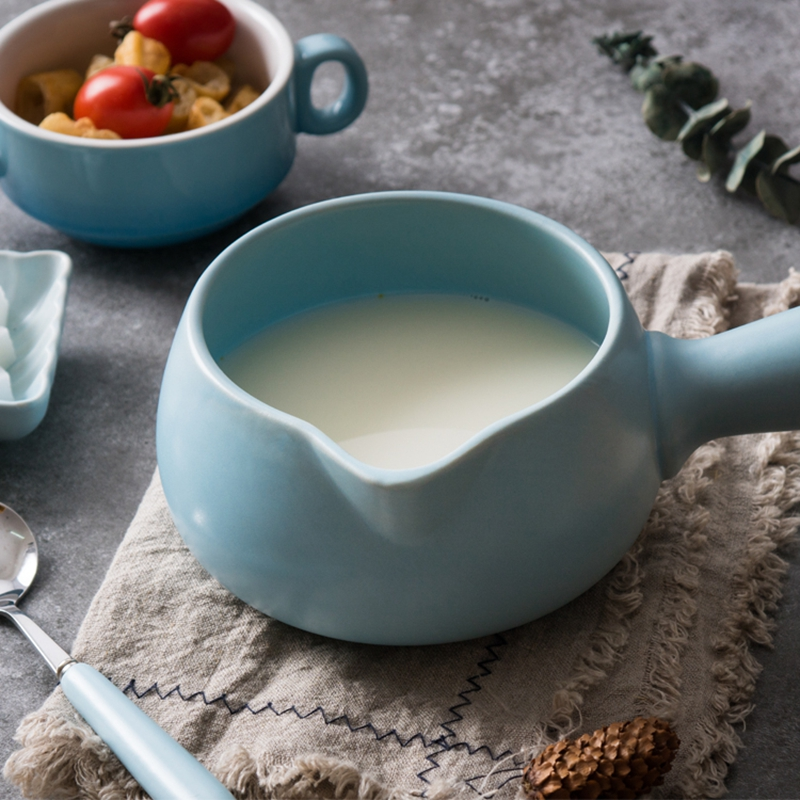 700ml Ceramic Milk Pot Mini Casserole Stockpot Baby Food Cookware Mini Soup Pot