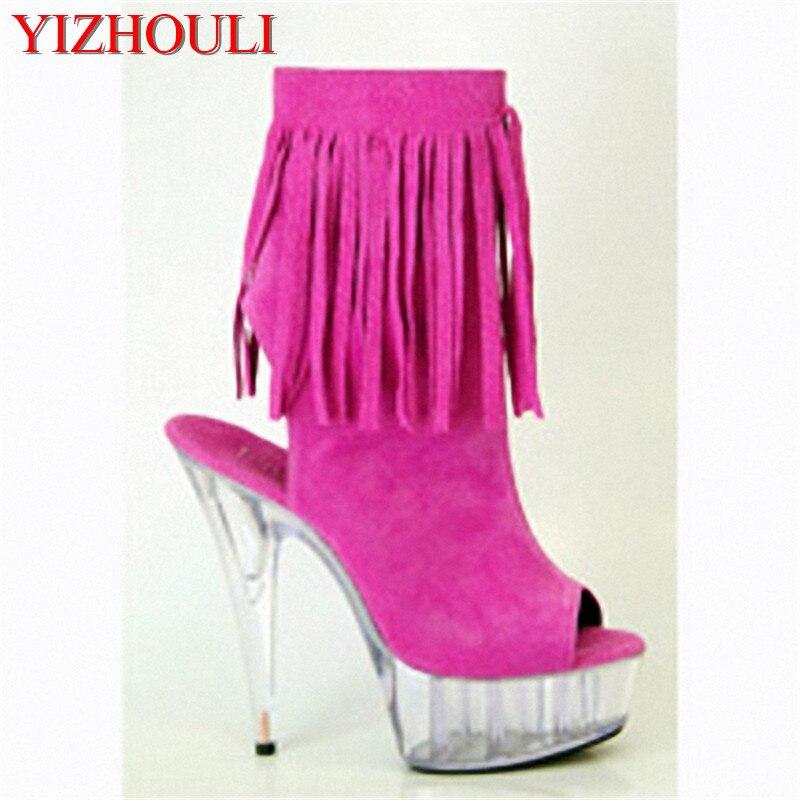 Pulgadas Botas Cuero La Elegante Tacón Alto Borla De Azul Zapatos Detalle Plataformas Suede Cm Grado rosado 6 marrón Superior 15 Del Mujeres Botines xxrHTEqw
