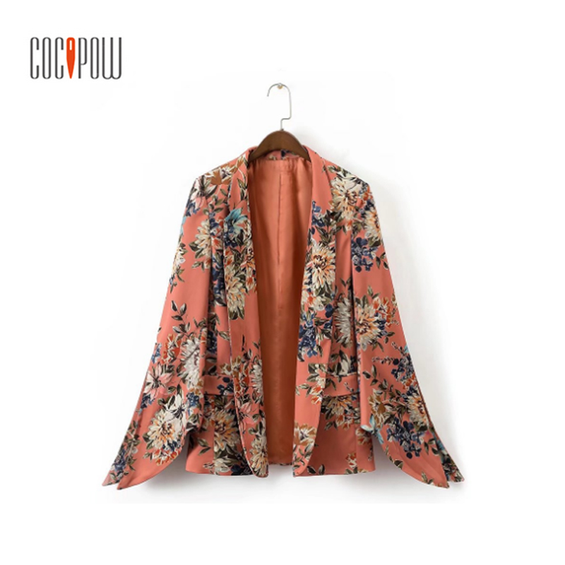 women ZA vintage floral blazer Notched collar pockets flare sleeve coat ladies casual outerwear casaco female tops 2018