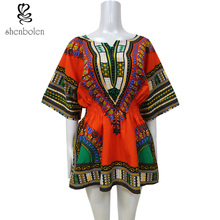 Africa clothing 2016 summer fashion African traditional printed women dashiki top short sleeve T-shirt cotton plus size S-4XL