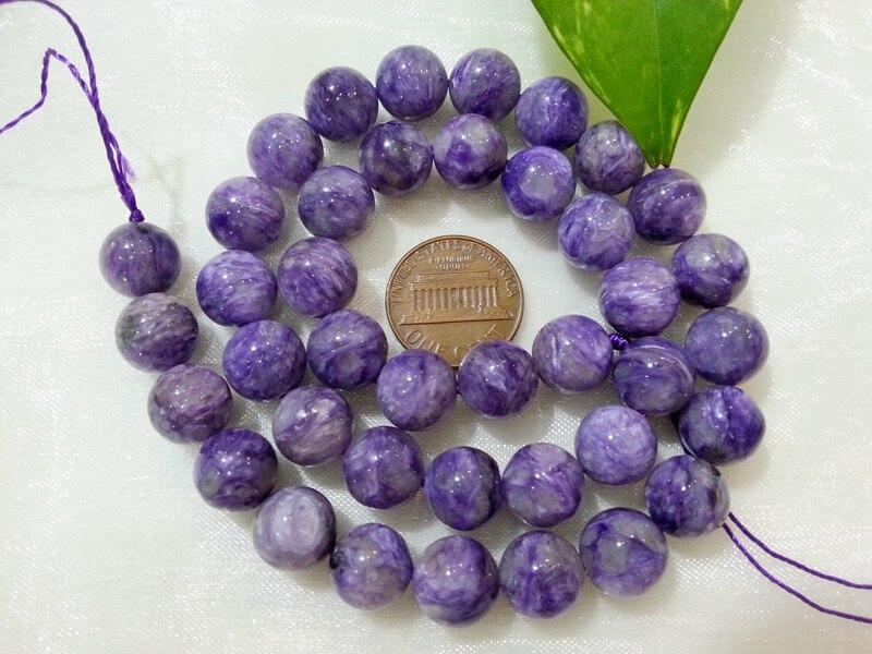 Lii Ji Natural Charoite Round shape bead 10mm DIY Jewelry Making Approx 39cm lii ji natural gemstone charoite bracelet approx 12x20x7mm for women fine jewelry