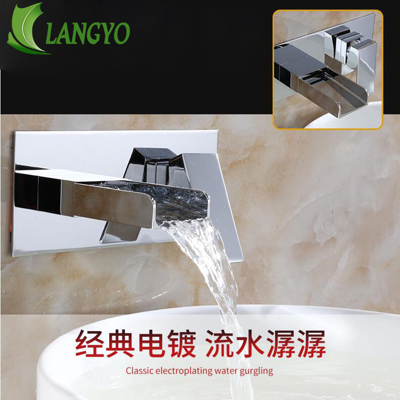 LANGYO Luxury wall mounted faucet concealed bathroom waterfall tap cold and hot water Single h basin mixer LT-324 Free shipping wall of the cold and hot water tap copper concealed washbasin single hole basin faucet stainless steel waterfall faucet lt 304 4