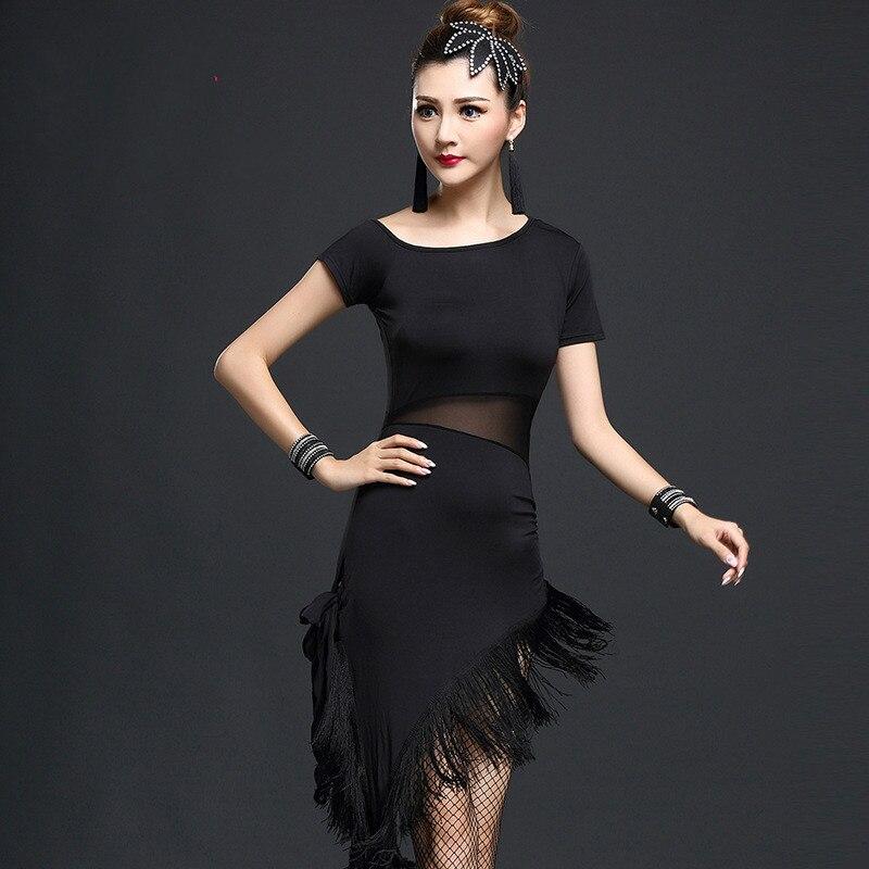 Robe de danse latine noire gland femmes robe de Tango Salsa Rumba Costumes de danse moderne à manches courtes été gland robe une pièce 90
